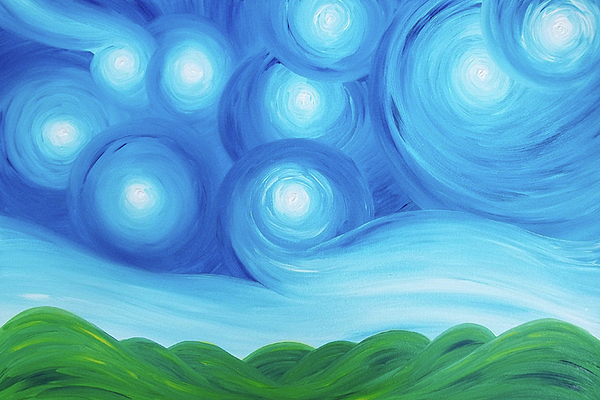 Original Painting - Starry Night Over The Hills  by Daniel Lafferty