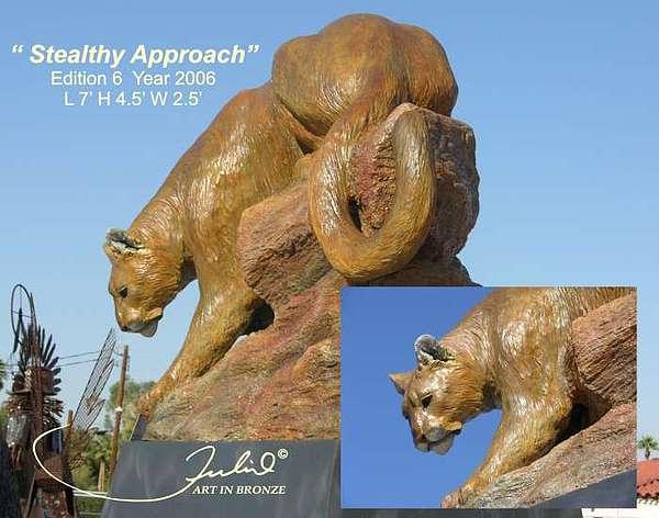 Mountain Lion Sculpture - Stealthy Approach by Julio Sanchez de Alba
