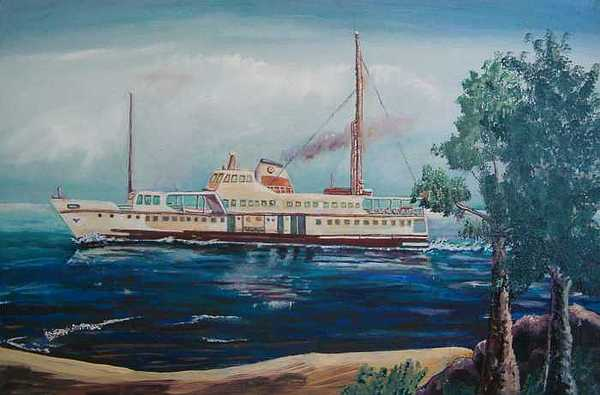 Steamboat Painting - Steam Boat 2 by Fahrettin  Oktay