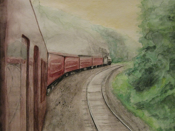 Trains Painting - Steam Excursion by Diana Prout