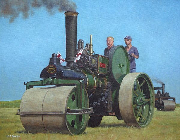 Steam Painting - Steam Roller Traction Engine by Martin Davey
