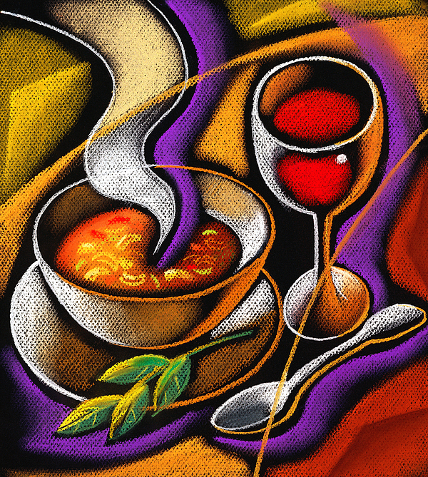 Appetite Appetizing Artwork Benefit Bowl Broth Consumption Container Cookware Crockery Cutlery Delicious Delight Devouring Diet Dieter Dieting Dining Dinner Dinnerware Dish Dishware Drawing Eating Flatware Food Gracious Graphic Graphic Art Graphic Gratifying Health Healthy Hot Hunger Hungry Lettuce Lifestyle Lunch Luncheon Lunchtime Meal Nourishment Nutrition Salad Soup Spoon Steaming Supper Table Setting Tableware Tasty Vegetable Wholesome Wholesomeness Yummy Decorative Painting Abstract Art Painting - Steaming Supper by Leon Zernitsky