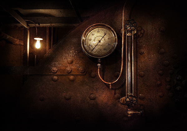 Hdr Photograph - Steampunk - Boiler Gauge by Mike Savad