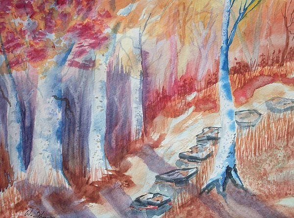 Trees Painting - Stepping Stones Into Fall by Warren Thompson