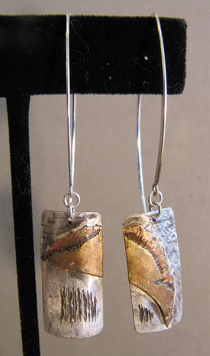 Sterling Silver Jewelry - Sterling Silver Brass Fused Earrings by Brenda Berdnik