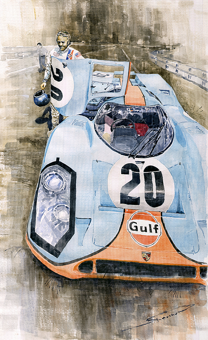 Watercolor Painting - Steve Mcqueens Porsche 917k Le Mans by Yuriy Shevchuk