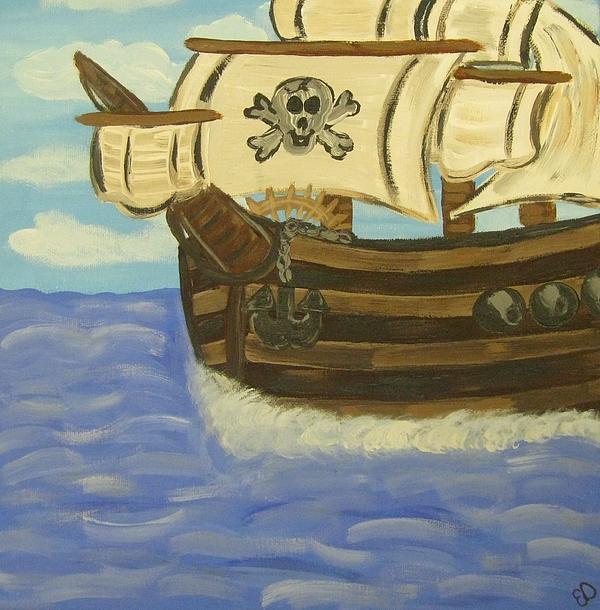 Pirates Painting - Steves Spooky Ship by Eva  Dunham