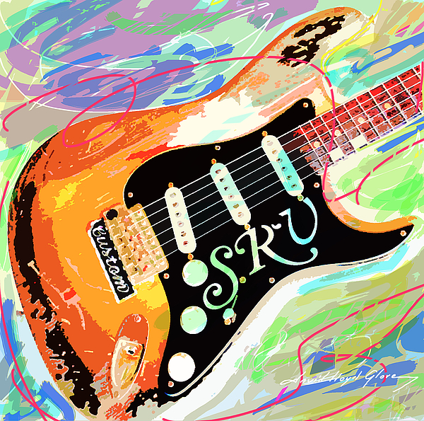 Guitars Painting - Stevie Ray Vaughan Stratocaster by David Lloyd Glover