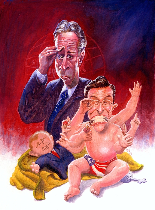 Television Painting - Stewart And Colbert by Ken Meyer jr