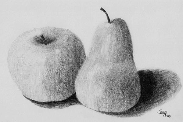 Still Life Drawing - Still Life Apple Pear by Spiros Antonellos