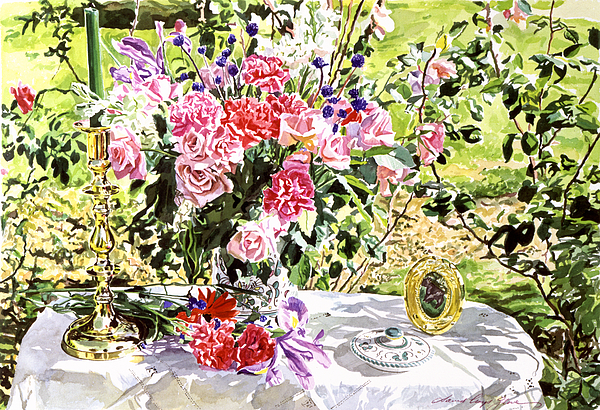 Flowers Painting - Still Life In The Artists Garden by David Lloyd Glover