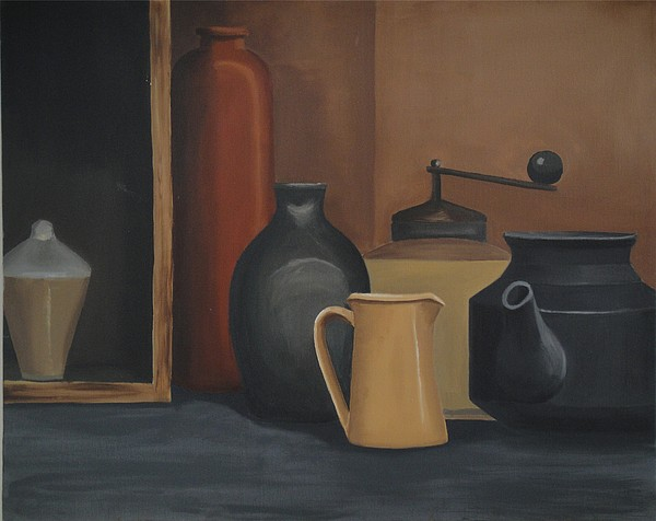Pots Painting - Still Life by Katerina Wert