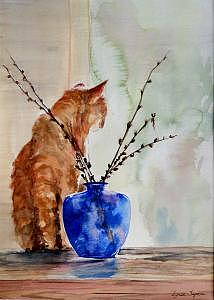 Cat Painting - Still Life by Lynee Sapere