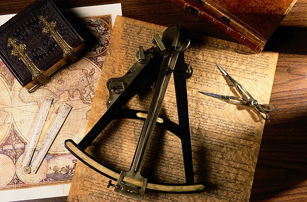 Compass Photograph - Still Life Of Charts, Books by Todd Gipstein