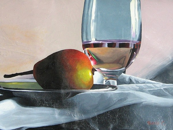 Still Life Of Pear And Water Glass Painting by Covalli