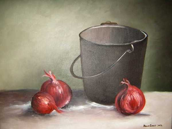 Bucket Painting - Still Life Onions by Nellie Visser