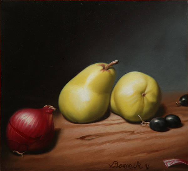 Still Life Painting Painting - Still Life Painting With Pears by Eric Bossik