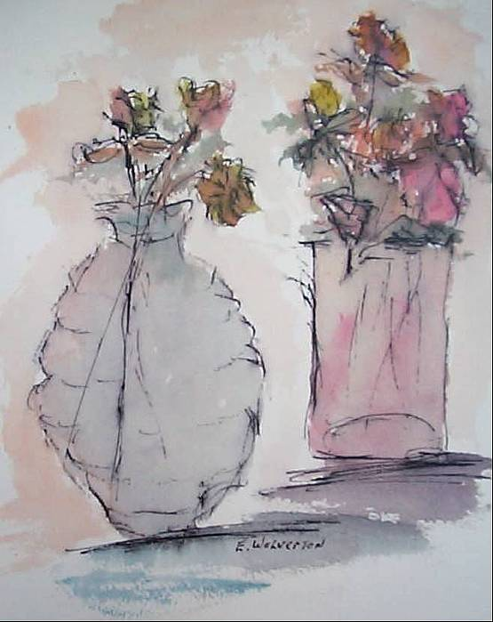 Realism Painting - Still Life- Vase With Flowers by Edward Wolverton