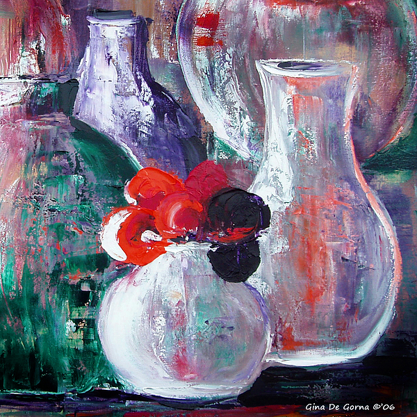 Still Life Painting - Still Life With A Red Flower by Gina De Gorna