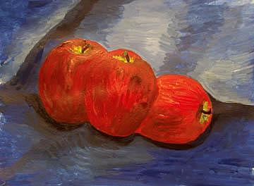 Three Apples Painting - Still Life With Apples by Caroline Lifshey