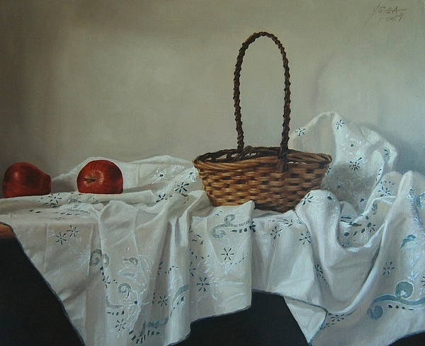 Still Life Painting - Still Life With Basket by Carlos Ygoa