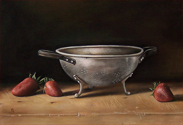 Still Life Painting - Still Life With Berries And Small Colander by Natasha Zivojinovic