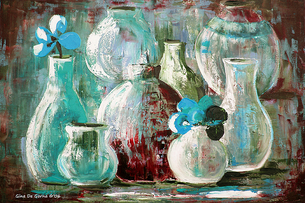 Still Life Painting - Still Life With Blue Flowers 2 by Gina De Gorna
