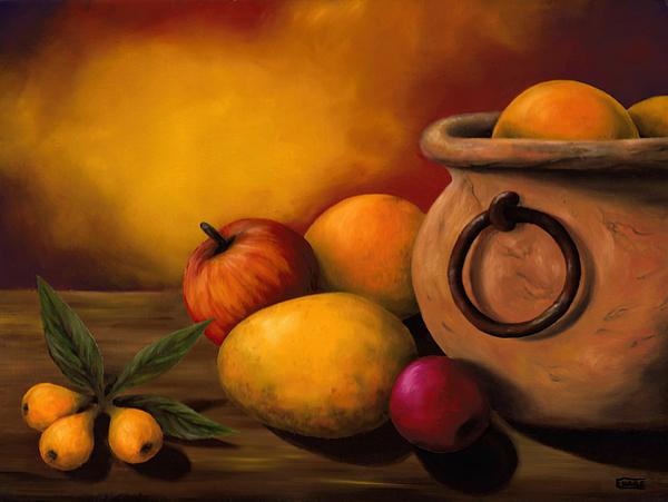 Stilllife Painting - Still Life With Ceramic Pot by Enaile D Siffert
