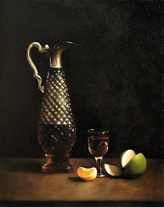 Still Life Painting - Still Life With Claret Jug by Matthew Kinsey