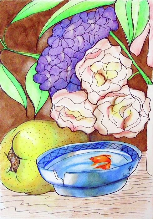 Fish Drawing - Still Life With Fish by Loretta Nash