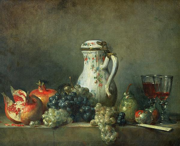 Still Life With Grapes And Pomegranates Painting - Still Life With Grapes And Pomegranates by Jean-Baptiste Simeon Chardin