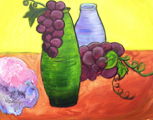 Grapes Painting - Still Life With Grapes by Kele Bourdeau
