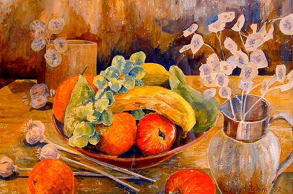 Bowl Of Fruit Painting - Still Life With Honesty by Wendy Head