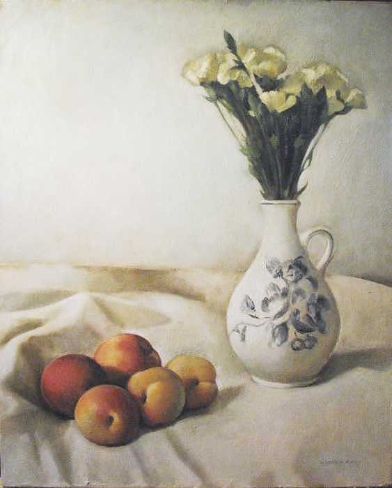 Still Life With Peaches And Flowers Painting by Matthew Kinsey