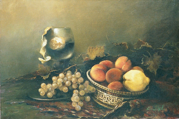 Armenian Painting - Still-life With Peaches by Tigran Ghulyan