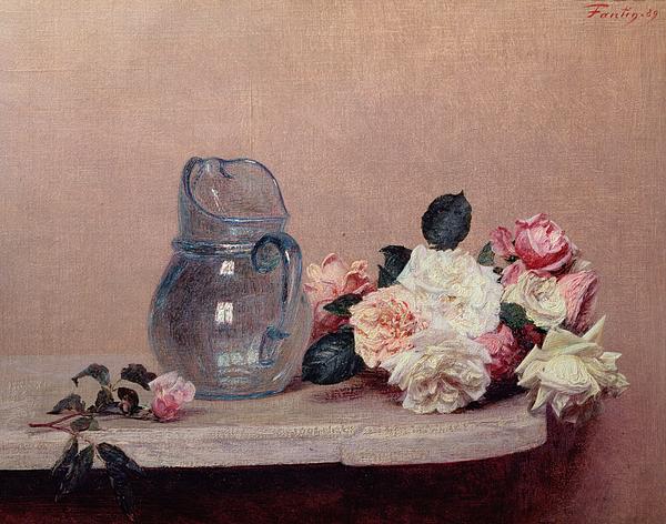 Glass Jug; Ledge Painting - Still Life With Roses by Ignace Henri Jean Fantin-Latour
