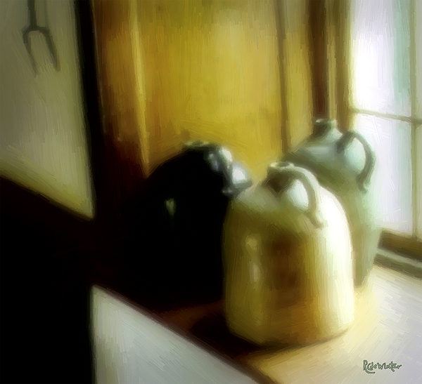 Antiques Digital Art - Still Life With Stoneware by RC DeWinter