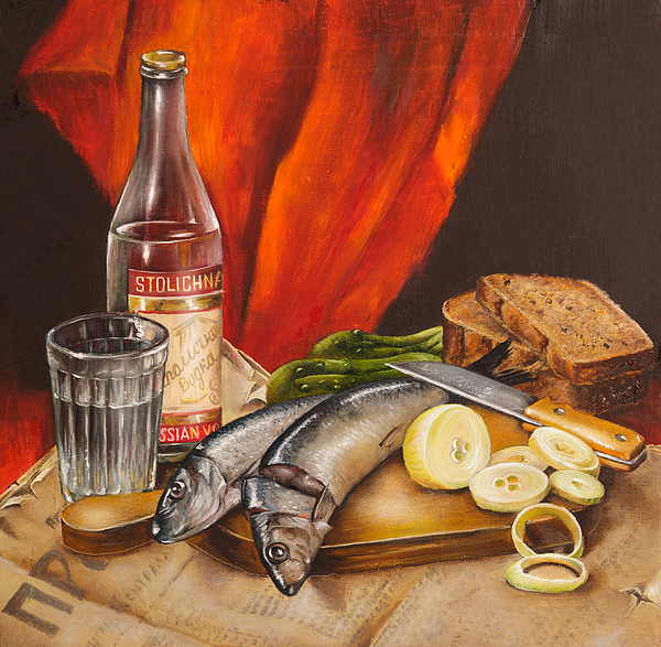 Still Life Painting - Still Life With Vodka And Herring by Roxana Paul