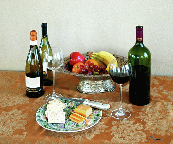 Still Life Photograph - Still Life With Wine And Fruit Cheese Picture Interior Design Decor by John Samsen