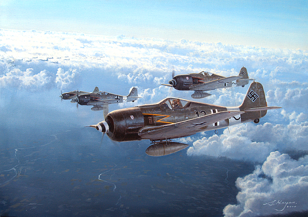 Focke Wulf Painting - Still They Come by Steven Heyen