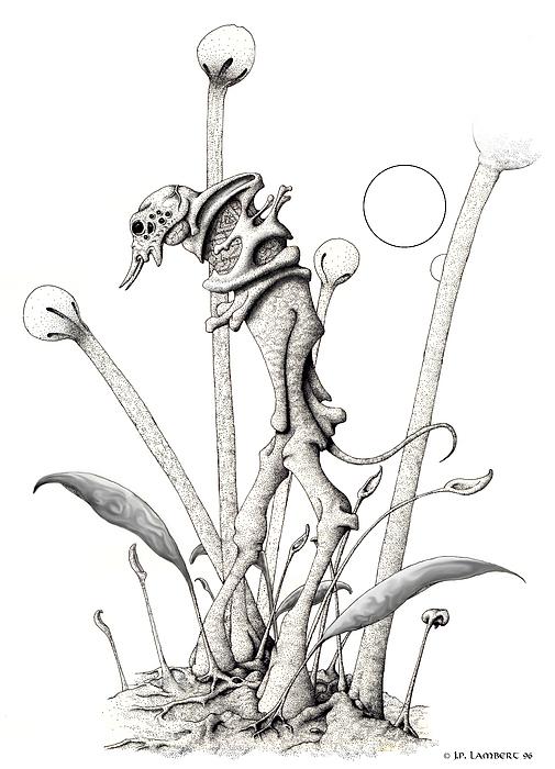 Pen & Ink Drawing - Stipplewalker by J P Lambert