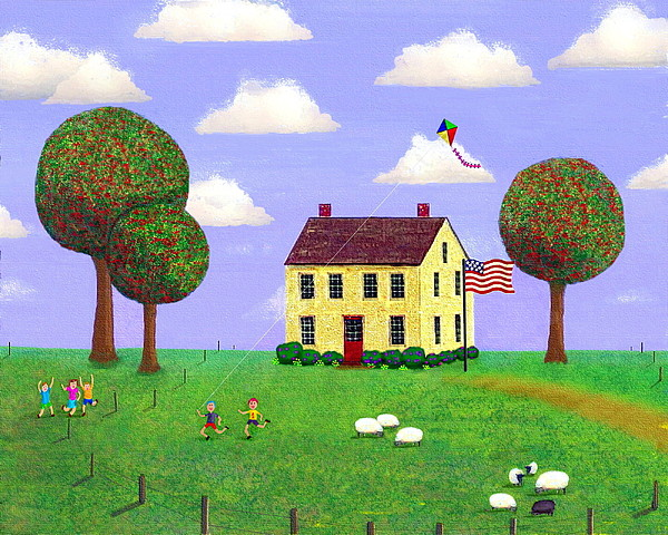 House Painting - Stone House In Summer by Paul Little