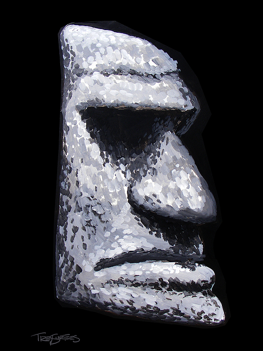 Tiki Painting - Stone Tiki Man by Trey Surtees