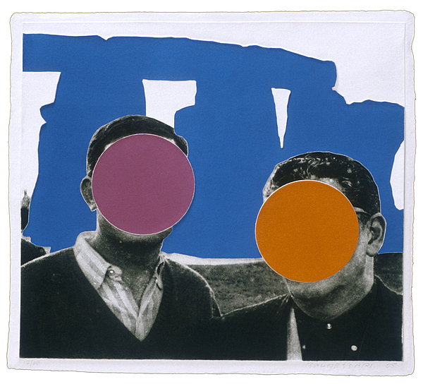 Stonehenge With Two Persons Blue Print by John Baldessari