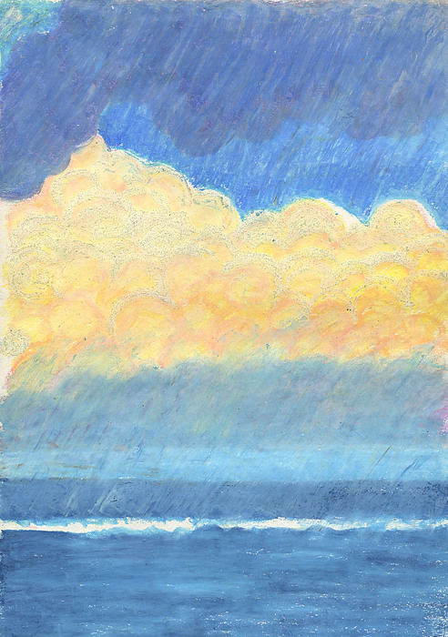 Oceanscape Drawing - Storm Over Virginia Beach by Harriet Emerson