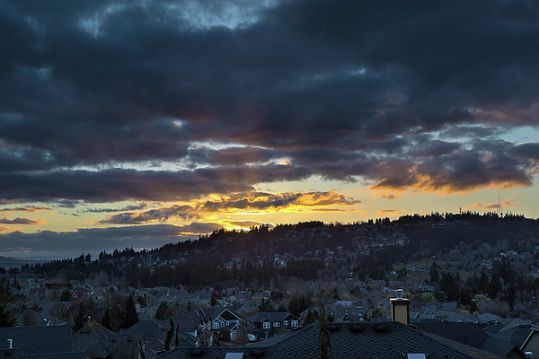 Happy Valley Photograph - Stormy Sunset Over Happy Valley Oregon by David Gn