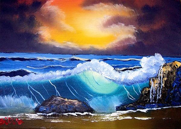Landscape Painting - Stormy Sunset Shoreline by Dina Sierra