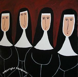 Stout Nuns Painting by Michele Edsall