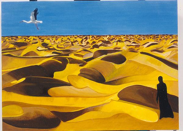Landscape Painting - Strange Desert by Nadine Valentin