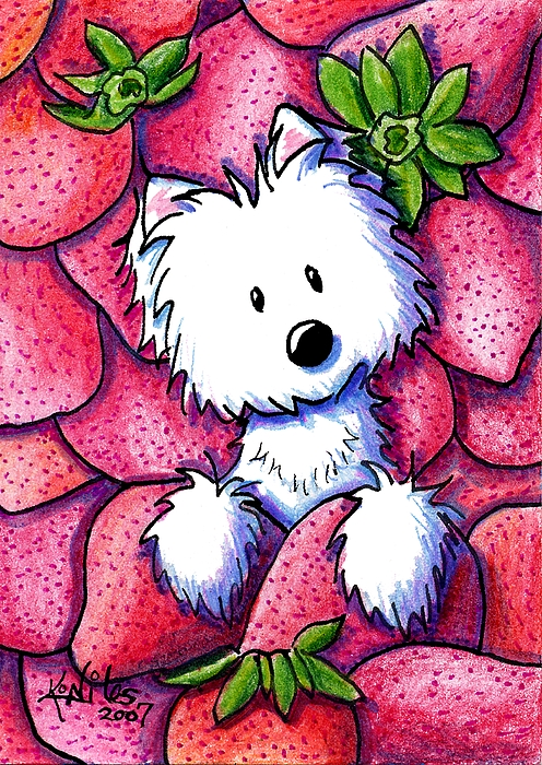 Dog Mixed Media - Strawberries N Cream by Kim Niles